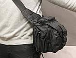 Сумка плечевая универсальная большая, тактическая и туристическая сумка с системой M.O.L.L.E Black (860-black), фото 5