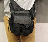 Сумка плечевая универсальная большая, тактическая и туристическая сумка с системой M.O.L.L.E Black (860-black), фото 6