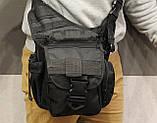 Сумка плечевая универсальная большая, тактическая и туристическая сумка с системой M.O.L.L.E Black (860-black), фото 9