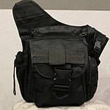 Сумка плечевая универсальная большая, тактическая и туристическая сумка с системой M.O.L.L.E Black (860-black), фото 10