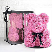 Мишка из роз 3D 25 см розовый (в подарочной упаковке)