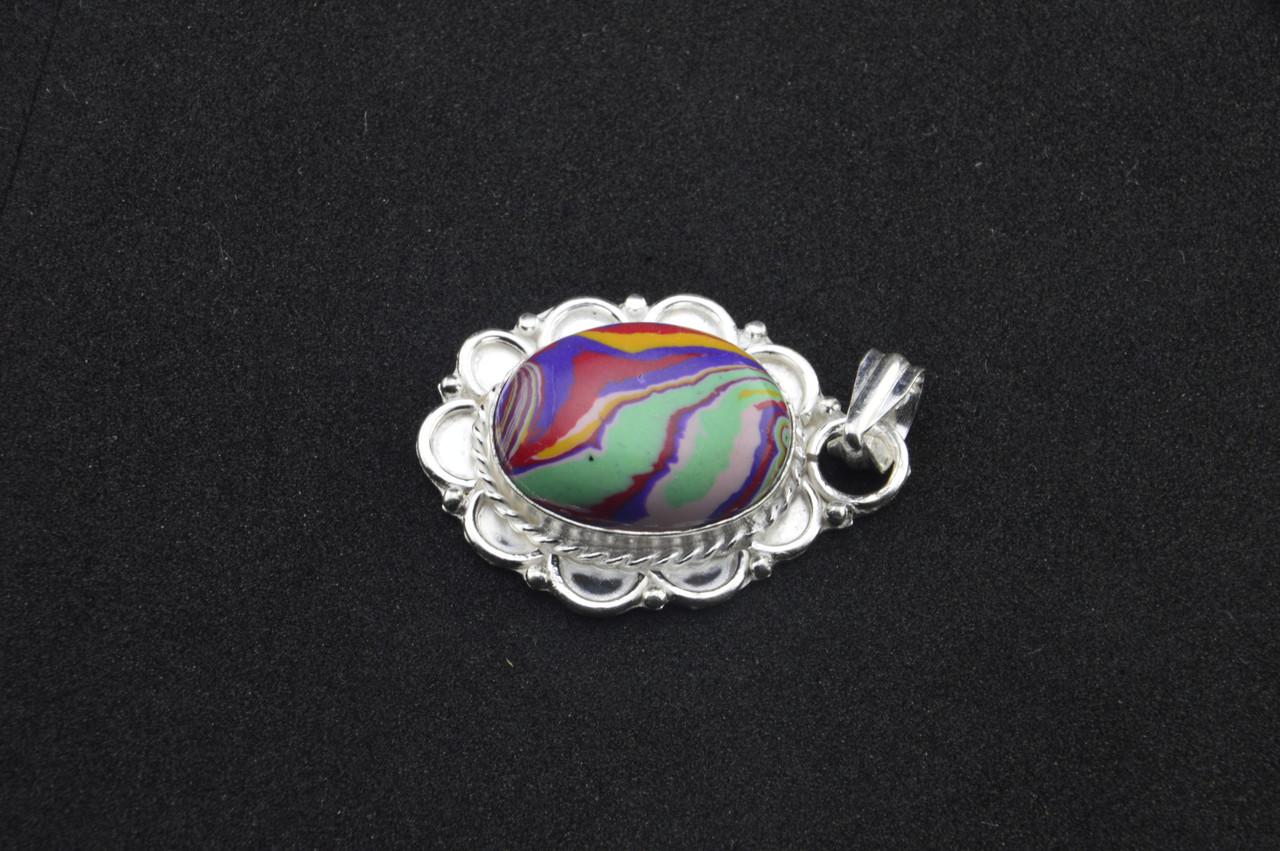 Серебряный кулон с разноцветным камнем яшма серебро 925 проба