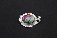 Серебряный кулон с разноцветным камнем яшма серебро 925 проба, фото 1