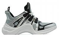 "Кроссовки Louis Vuitton Sneakers ""Silver White"" - ""Серебристые Черные Белые"" (Копия ААА+)"
