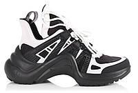 "Кроссовки Louis Vuitton Sneakers ""Black White"" - ""Черные Белые"" (Копия ААА+)"