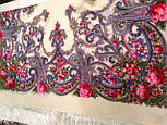 Милый друг 1345-1, павлопосадский платок шерстяной  с шелковой бахромой, фото 6