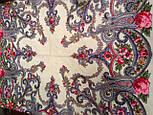 Милый друг 1345-1, павлопосадский платок шерстяной  с шелковой бахромой, фото 7