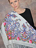 Милый друг 1345-1, павлопосадский платок шерстяной  с шелковой бахромой, фото 9
