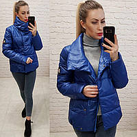 Куртка весна/осень, плащевка лак, арт.1004, цвет - синий / электрик