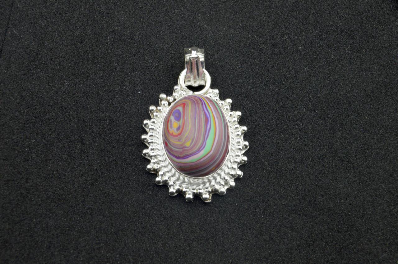 Серебряный кулон с разноцветной яшмой серебро 925 проба Индия