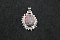 Серебряный кулон с разноцветной яшмой серебро 925 проба Индия, фото 1