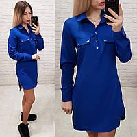 Платье-рубашка, креп, арт. 825, цвет - электрик