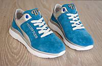 Женские кроссовки из натуральной замши голубого цвета