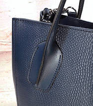 57-1 Натуральная кожа Сумка женская кожаная сумка синяя Сумка из натуральной кожи синяя Женская сумка синяя, фото 2