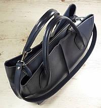 57-1 Натуральная кожа Сумка женская кожаная сумка синяя Сумка из натуральной кожи синяя Женская сумка синяя, фото 3