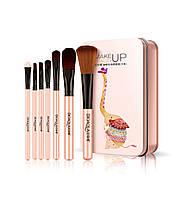 Набор кистей в металлической коробке BIOAQUA makeup brush set peach (7шт)