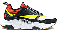 "Кроссовки Dior Homme B22 Calfskin Trainer ""Black Red Yellow"" - ""Черные Красные Желтые"" (Копия ААА+)"