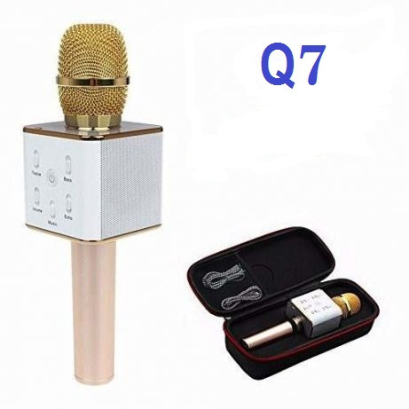 Безпровідний мікрофон караоке в чохлі Bluetooth Q7 золотий