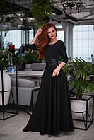 Нарядное женское платье в пол из креп костюмки