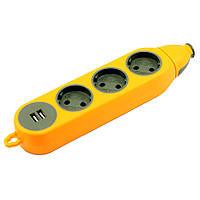 Розеточный блок, колодка для удлинителя на 6 гнезд и 2 USB разъема