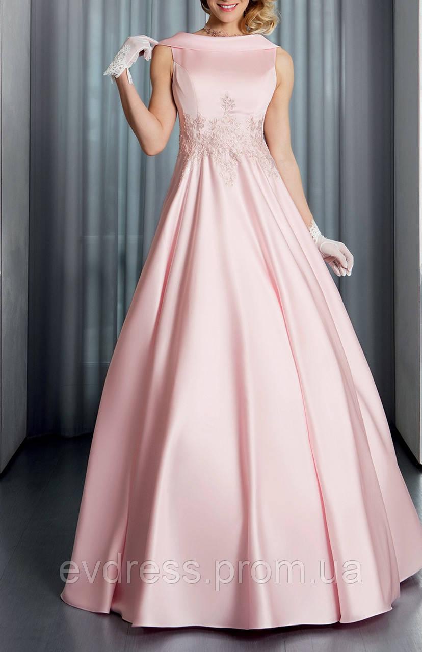 6ac7ba2b354 Элегантное Пудровое Розовое Платье А-силуэт Атлас Ретро Выпускной DL-22621