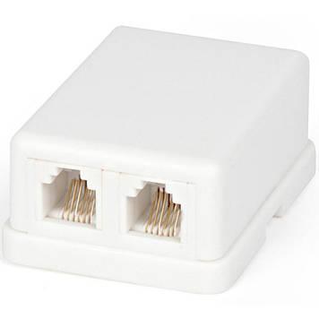 Телефонная розетка 2xRJ12 телефонная (LP-6P6C) LogicPower (3672)