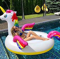Огромный Матрас плот  Радужный Единорог с разноцветными крыльями 287 см для детей и взрослых
