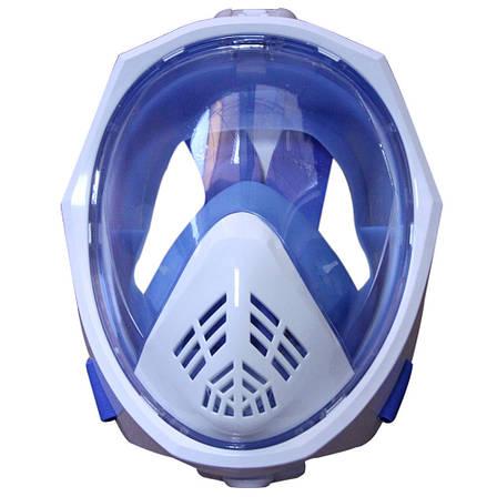 Маска для подводного плавания, на всё лицо ГОЛУБАЯ L/XL ТИП 2 + ПОДАРОК: Настенный Фонарик с регулятором, фото 2