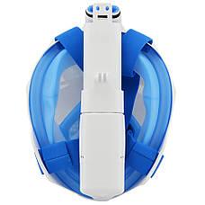 Маска для подводного плавания, на всё лицо ГОЛУБАЯ L/XL ТИП 2 + ПОДАРОК: Настенный Фонарик с регулятором, фото 3