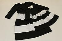 """Повседневно - нарядное платье на маму и доченьку (в стиле Фемели Лук) """"Полосатики"""" черно - белое с рукавами"""