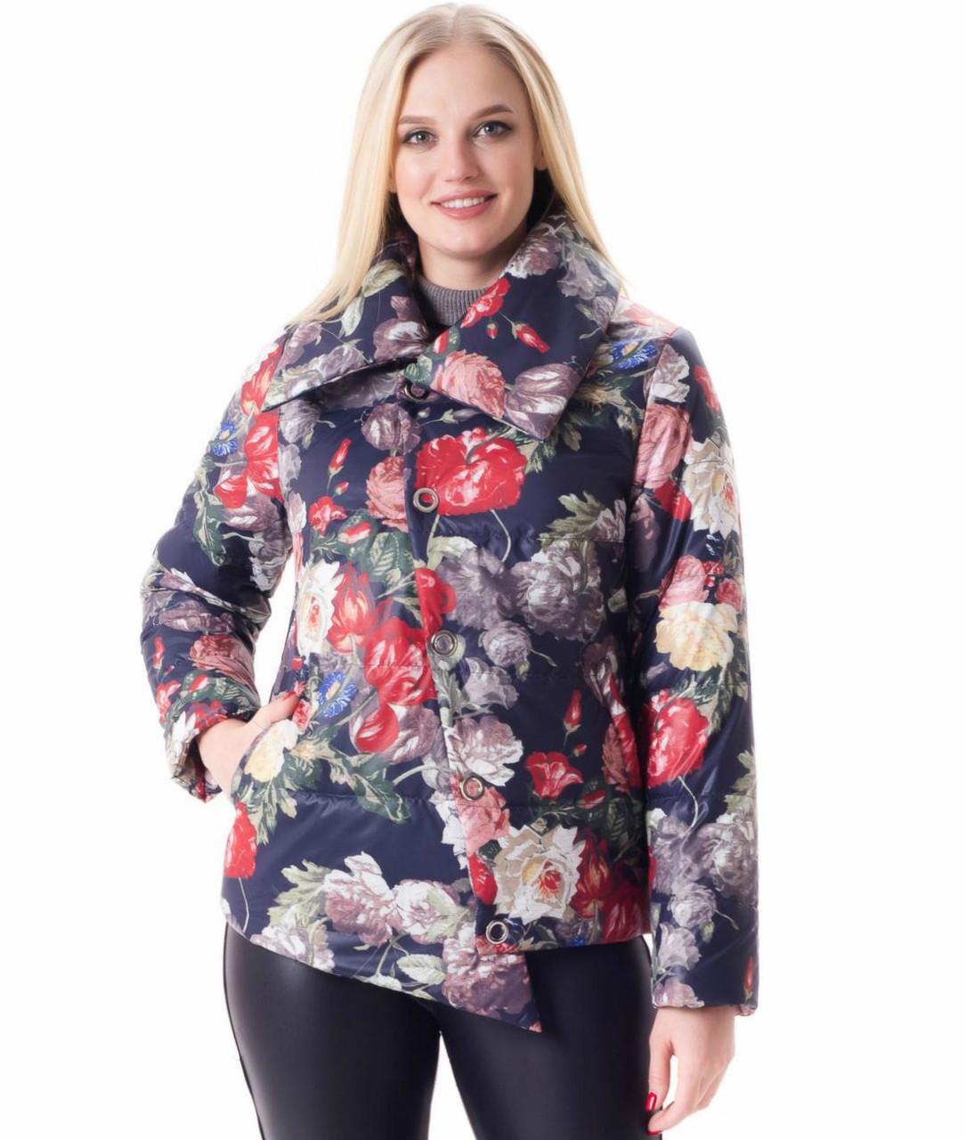 b14979378d4 Куртка женская демисезонная с цветочным принтом «Айри» (с 42 по 56 ...