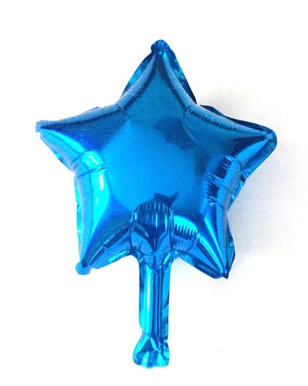 Шар в форме звезды синий 10″