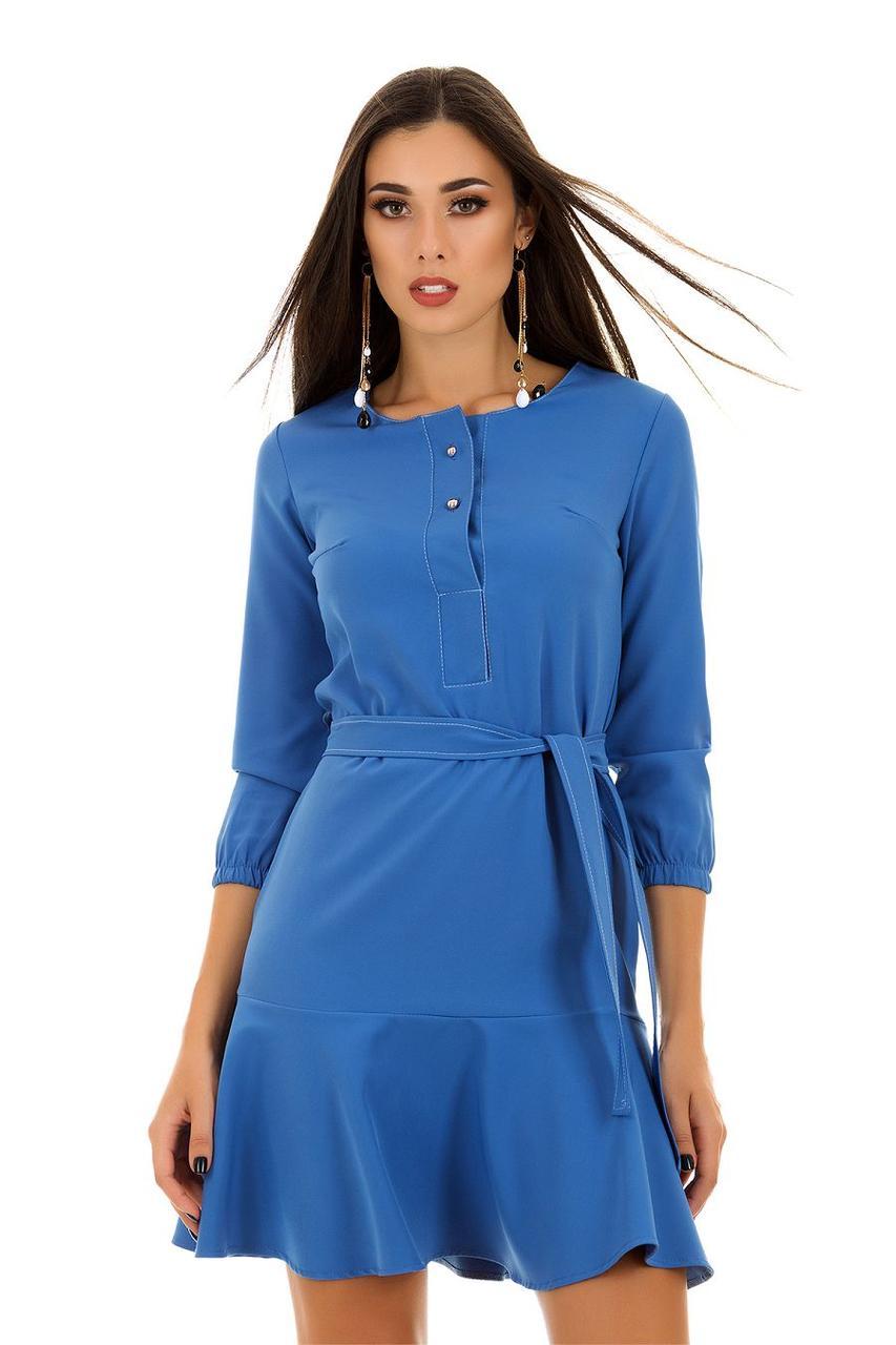 Романтическое платье с пояском и воланом по юбке и пуговками на груди