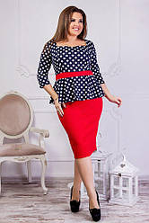 Платье в горошек с красным поясом 8100