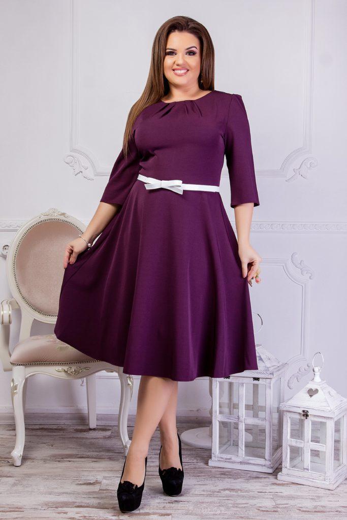 Женское платье бордового цвета с поясом 8194