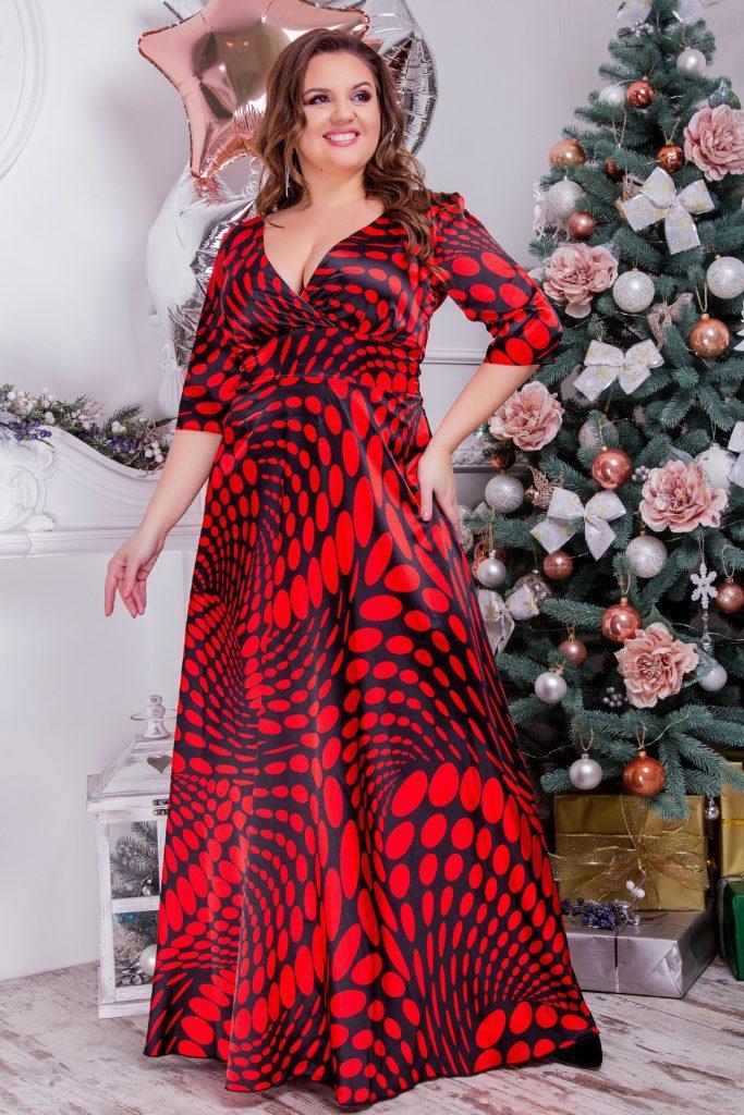 Платье в пол шелк-армани красное 8174