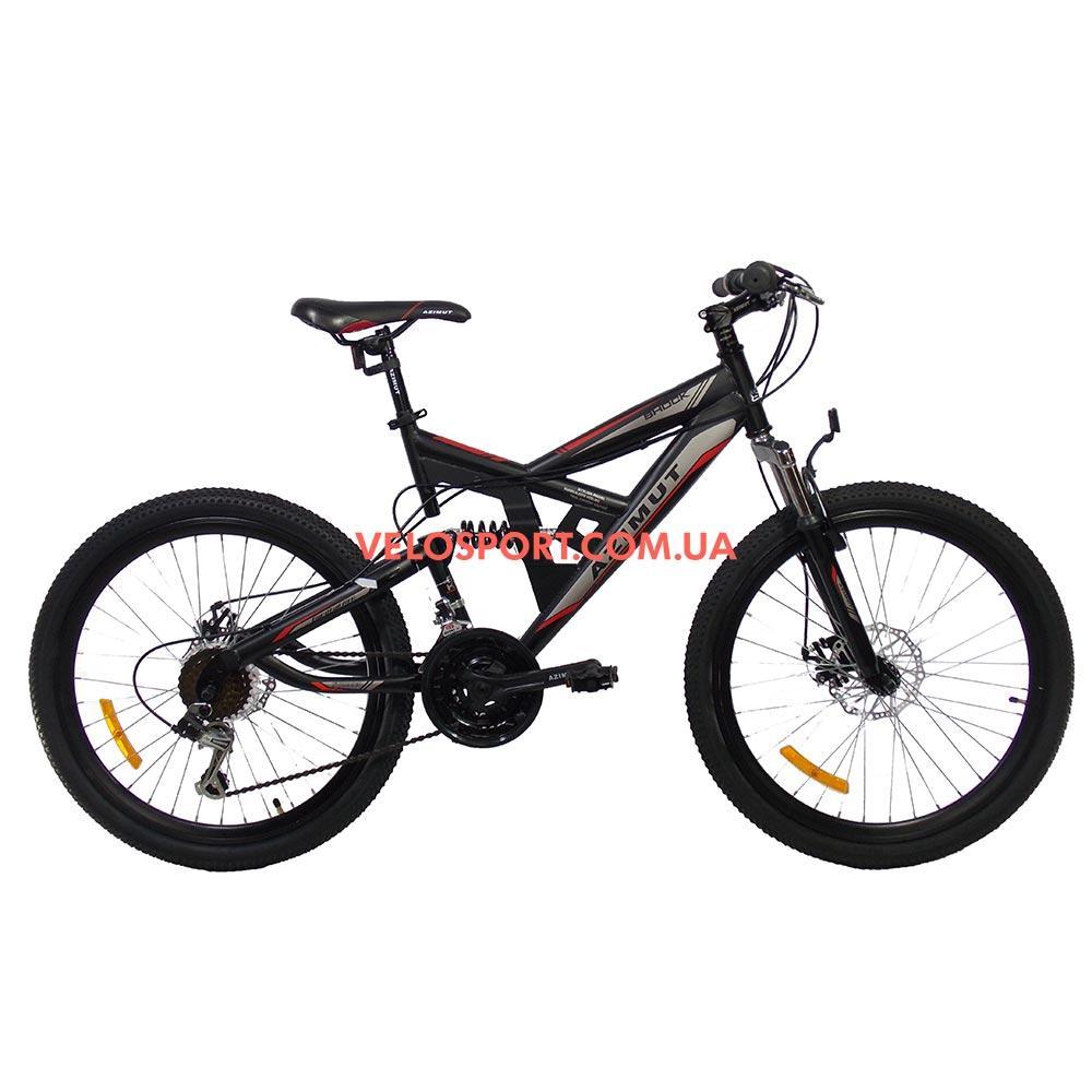 Подростковый велосипед Azimut Shock D 24 дюйма черно-красный