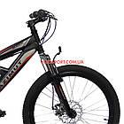 Подростковый велосипед Azimut Shock D 24 дюйма черно-красный, фото 2