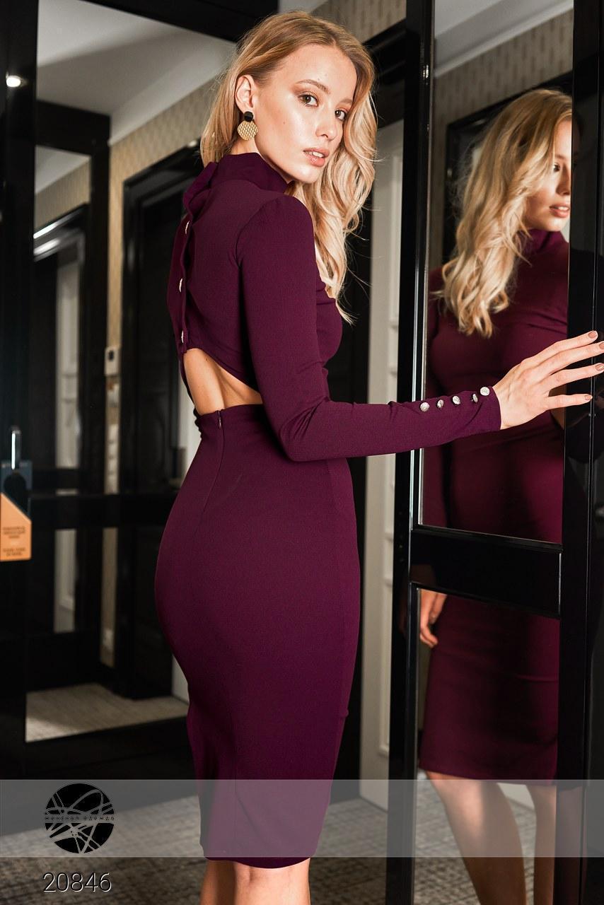 39c20f6a9c0 Облегающее платье футляр миди с разрезом сбоку и открытой спиной ...