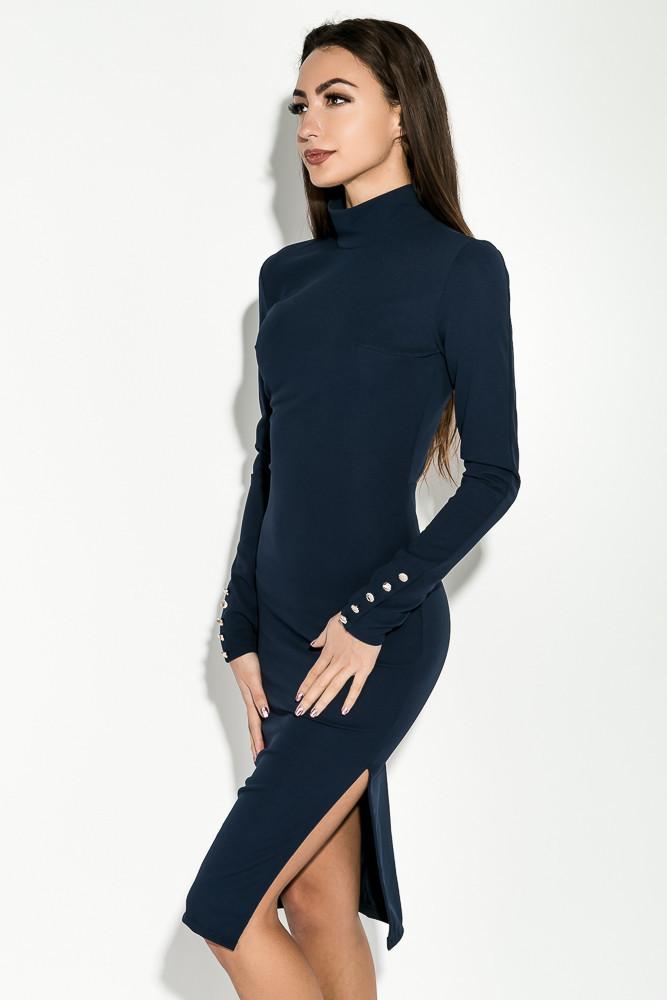 Облегающее платье футляр миди с разрезом сбоку и открытой спиной, украшено пуговицами