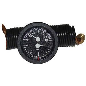 Термоманометр с выносными датчиками Cewal TI 52 P (52 мм, 0/120°С, 0-4бар, 1500мм)