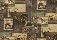 Обои Lanita виниловые на флизелиновой основе  ЭШТ Арабика декор 1-1000 горчично-коричневый обои Скиф (1,06х10,05м.)