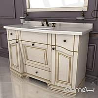 Мебель для ванных комнат и зеркала Ваша Мебель Тумба под раковину с мраморной столешницей Ваша Мебель Прима 130 бежевый