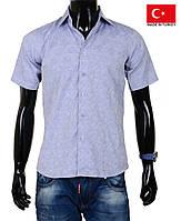 Молодежная рубашка с коротким рукавом,приталенная.