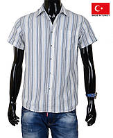 Стильная мужская летняя рубашка лен-коттон