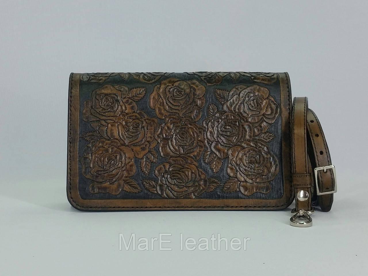 903481050efc Оригинальный женский клатч ручной работы с тисненым цветочным рисунком из  натуральной