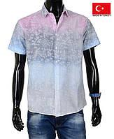 Стильная рубашка короткий рукав.Яркая мужская тенниска на лето.