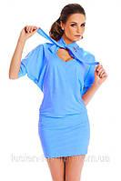 Легкое летнее трикотажное платье с рукавами летучая мышь