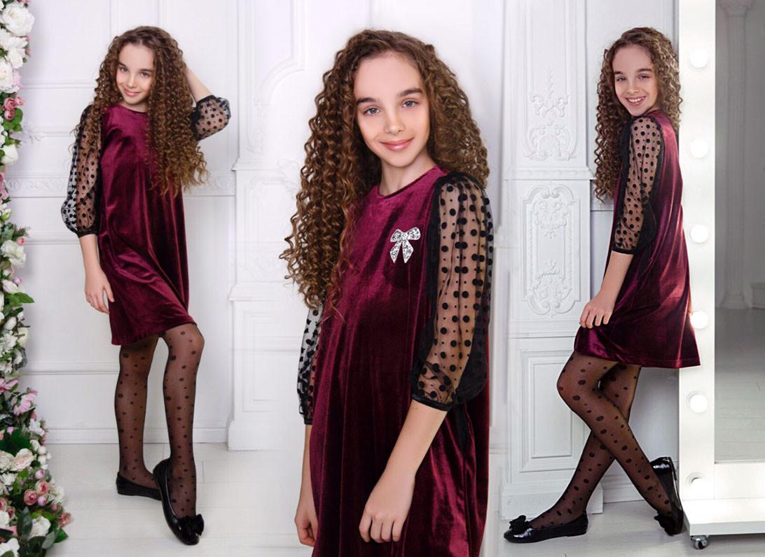 """Детское стильное нарядное платье 510 """"Бархат Рукава Сетка Флок Горох"""" в расцветках"""