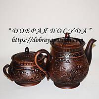 Чайный набор Витязь глиняный декор (чайник+сахарница)